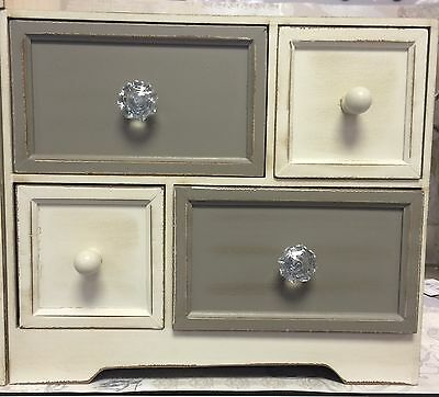 Shabby Chic Vintage Style Cream Taupe Distressed Mini Drawers NEW Storage Jewel