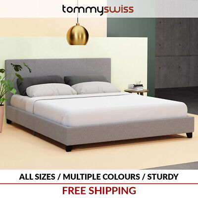 TOMMY SWISS: DELUXE King, Queen & Double Premium Fabric Bed Frame Multi Colours