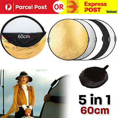 "24"" 60cm 5 in 1 Photography Photo Light Mulit Collapsible Disc Reflector Handle"