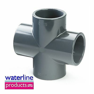 Cross 90° Plain Solvent Cement Grey uPVC Pipe Fitting