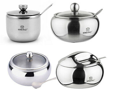 STAINLESS STEEL LIDED SUGAR POT / BOWL WITH SPOON 160/260/460/560ml