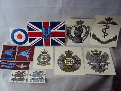 British Military Army Regimental Vehicle Stickers SAS, AAC, RE, RAC, PARA, RAF