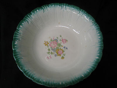 """antique Homer Laughlin bowl with H46N8 on bottom 9"""" diameter pink flowers"""