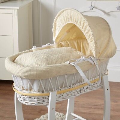 New Cream Waffle White Wicker Deluxe Padded Moses Basket