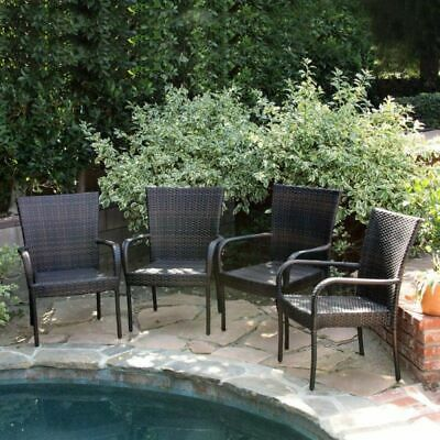 Set of 4 Outdoor Patio Furniture Brown Wicker Stackable Dining Chairs
