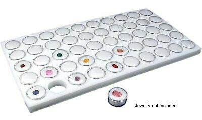 New Glass Top Jewelry Display Case Box with White 50 Gemstone Jars