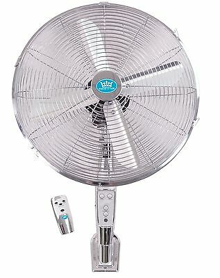 "Prem-I-Air 16"" Inch Chrome Home Office Shop Garage Wall Fan + Remote & Timer"