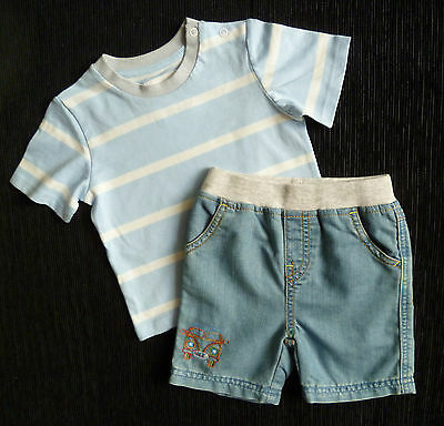 Baby clothes BOY 9-12m TU outfit blue/white/grey t-shirt/light denim shorts NEW!