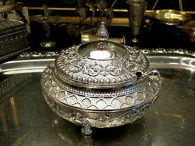 Silver Plated Sugar Bowl Richly Ornamented Floral Motif Vintage Antique 5""