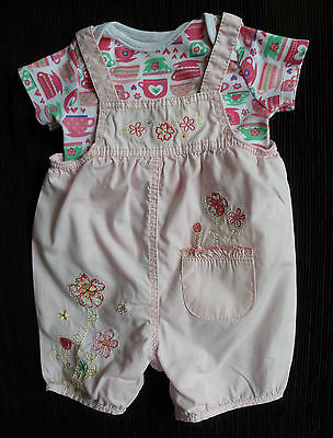 Baby clothes GIRL 0-3m cotton pink dungarees/teapot bodysuit 2nd item post-free!