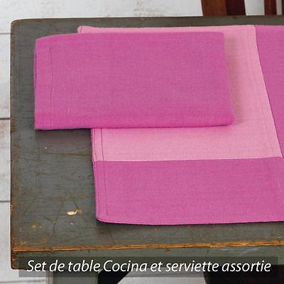 Set de table Cocina 45x33 cm avec serviette assortie Damier rose et fuchsia