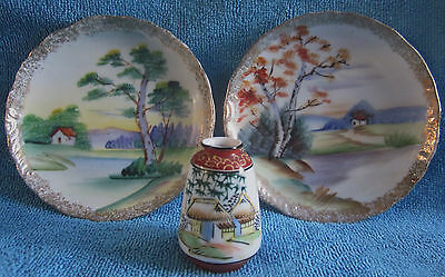 MARUKU miniature VASE & 2 hand painted 12.6cm DISPLAY PLATES house by the lake