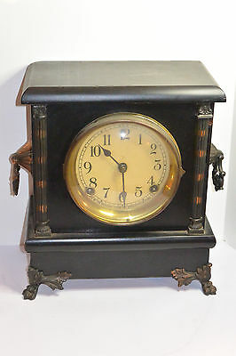 Vintage Wood Case Sessions Mantel/Shelf Clock! Chimes! Copper Trim! Needs Repair