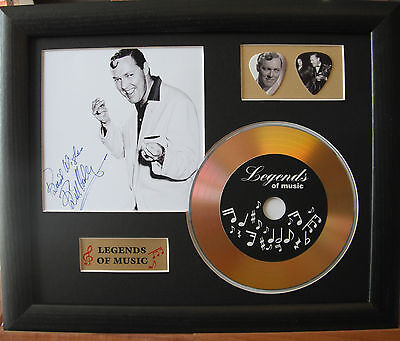 Bill Haley Preprinted Autograph, Gold Disc & Plectrum Presentation
