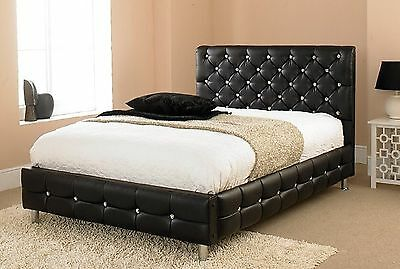 Black Diamond Faux Leather Upholstered Fabric Bed Frame 4'6 Double 5ft King Size
