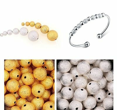 Wholesale 100pcs Silver&Golden Stardust Copper Ball Spacer Beads 3/4/5/6mm NEW^