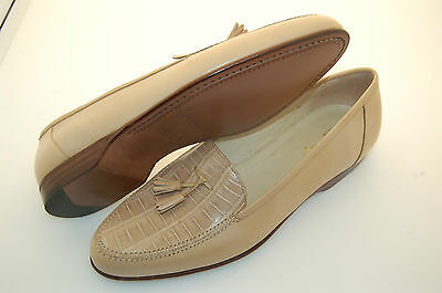 MAN - 41½ -7½eu - PENNY LOAFER-GENUINE BEIGE ALLIGATOR & CALF-LTH SOLE-BLAKE CST