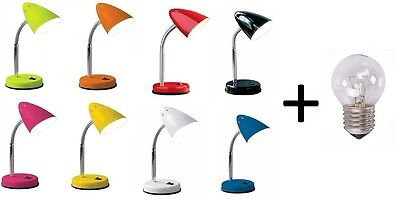 Flexible Desk Lamp Office Study Reading Lamp Table Bedside 8 Colours Free Bulb