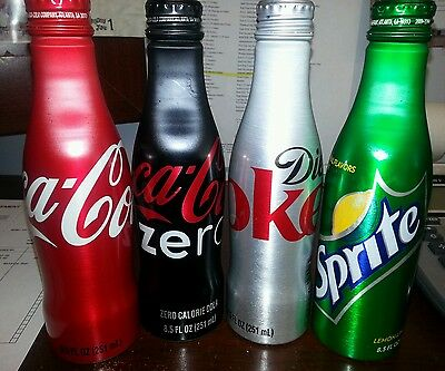Lot of 4 Aluminum Bottles - 8 oz Unopened - Coca Cola, Diet Coke, Sprite, Zero