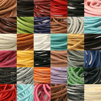 Round Genuine Real Hide Leather Lace Thong Cord Rope 1mm 2mm 1-5yards