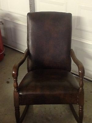 Antique/Vintage adult rocking rocker arm chair dark brown leather look vinyl?