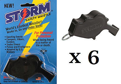 Storm Whistle loudest whistle in world Black Safety pack of 6