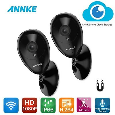 ANNKE 2x 1080P Wireless IP Network HD Cameras Wifi WLAN CCTV Home Security Audio