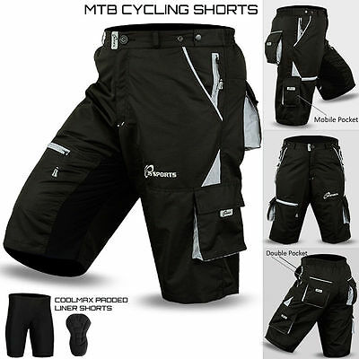 MTB Cycling Short Off Road Cycle CoolMax Padded Liner Shorts Black/Gray S to XXL