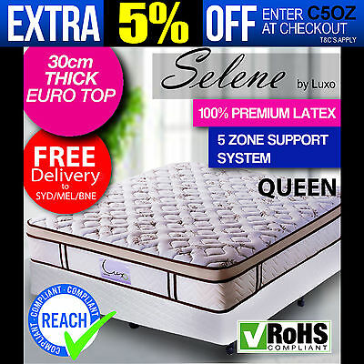 NEW PREMIUM QUEEN EURO TOP Pocket Spring Natural LATEX Density Foam Bed Mattress