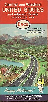 1962 ENCO HUMBLE OIL Road Map CENTRAL WESTERN UNITED STATES Los Angeles Seattle