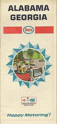 1968 ENCO HUMBLE OIL Road Map ALABAMA GEORGIA Atlanta Mobile Savannah Birmingham