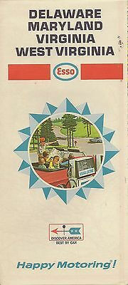 1968 ESSO HUMBLE OIL Road Map MARYLAND DELAWARE WEST VIRGINIA Richmond Roanoke
