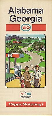 1969 ENCO HUMBLE OIL Road Map ALABAMA GEORGIA Atlanta Mobile Savannah Birmingham