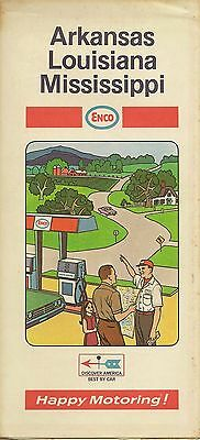 1969 ENCO HUMBLE OIL Road Map ARKANSAS LOUISIANA MISSISSIPPI New Orleans Memphis