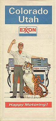 1972 EXXON Tiger Road Map COLORADO UTAH Denver Salt Lake City Rocky Mountains