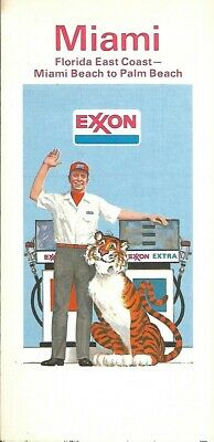 1974 EXXON Tiger Road Map MIAMI BEACH Florida Coral Gables Coconut Grove Hialeah