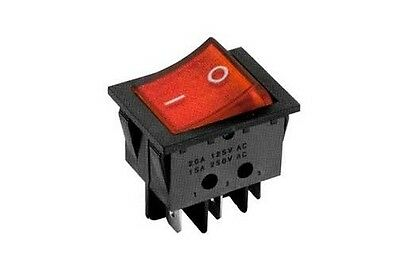 Interruttore a bilanciere 220V 16A bipolare rosso luminoso 12V switch 32x25