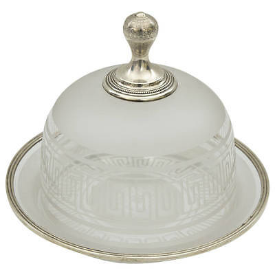 Antique French Silver Engraved Crystal Caviar Bell or Butter Serving Dish