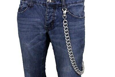 Men Silver Metal Wallet Chain Jean Key Chunky Chain Thick Links Extra Long Biker