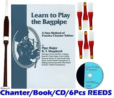 new DEURA Bagpipe Practice Chanter, BOOK CD and 6 REEDS
