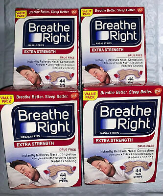 104 BREATHE RIGHT NASAL STRIPS, EXTRA CLEAR ( 4 x 26 Ct Boxes ) Ships World Wide