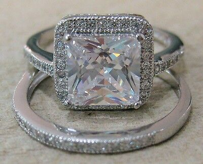 925 STERLING SILVER Square CZ BRIDAL SET Engagement & Wedding RINGS  J to R