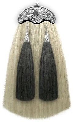NEW HORSE HAIR MILITARY LONG SPORRAN 100% Original with THISTLE CANTLE