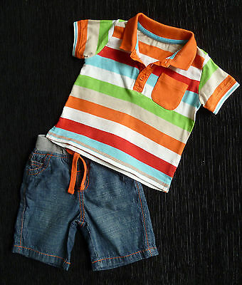Baby clothes BOY 3-6m denim shorts/stripe collared polo shirt 2nd item post-free