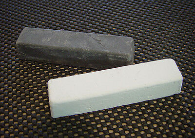 Two 4oz Bars Stropping Compound White Rouge, Black Emery polishing buff jewelers