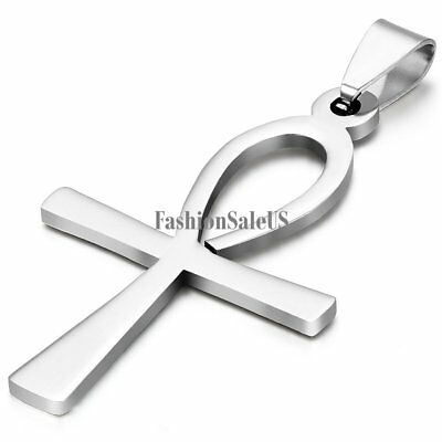 Unisex Silver Stainless Steel Charm Egyptian Ankh Cross Pendant Necklace Chain