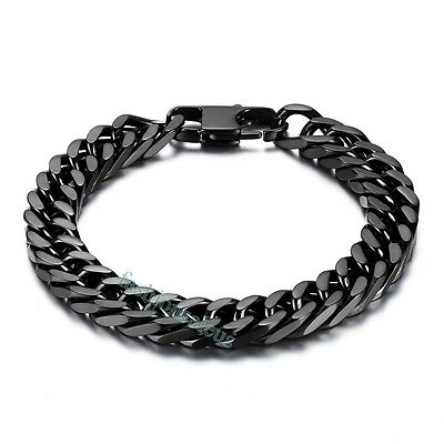 10mm Heavy Curb Black Stainless Steel Men's Boy's Link Bracelet Chain 8 inches