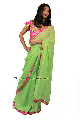 Stunning Simple Saree Parrot Green Sari Pink blouse Georgette Bollywood Indian