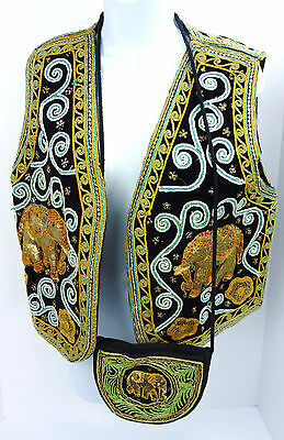 Carol Horn Vest & Purse Tapestry Elephant Embroidered Sequined Boho Hippie