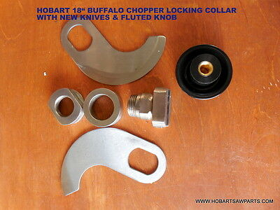 "Hobart 18"" Buffalo Chopper Locking Knife Set With New Knives & New Fluted Knob"